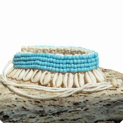 Bracelet de Cheville en Crochet et Coquillages Cauris Perles de rocaille bleu ciel