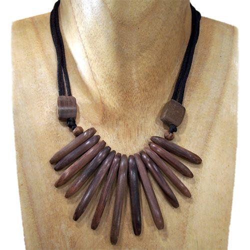 Collier en bois Ethnique à lamelles Tour de cou ajustable