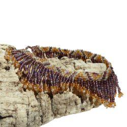 Bracelet de cheville original en perles de rocailles Franges Améthyste&  Jaune