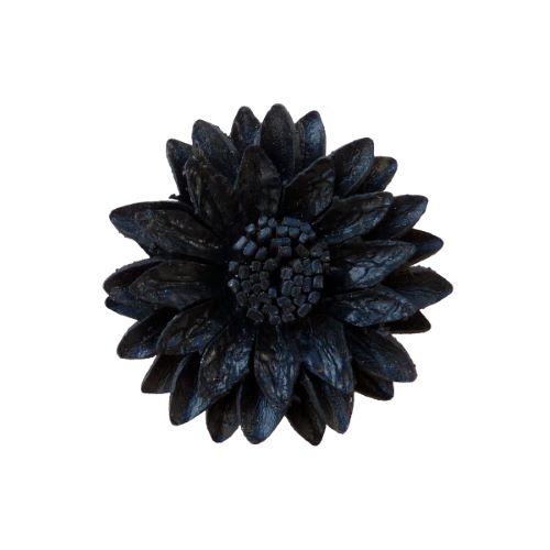 Grosse Bague Fleur en cuir Noire taille ajustable Artisanat de Bali