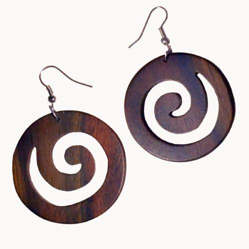 Boucles d'oreilles en bois spirales en bois naturel