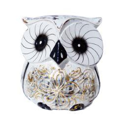 Chouette Hibou en bois Artisanat Blanc et or décor Fleur 10 cm