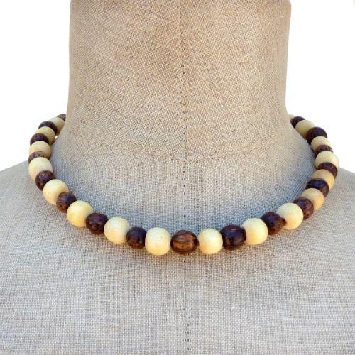 Collier en bois bicolore perles rondes en bois naturels