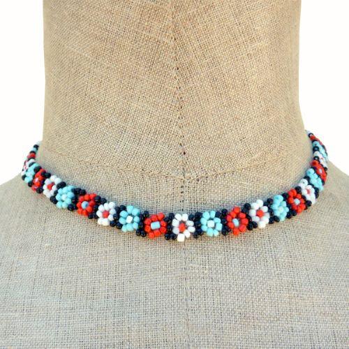 Collier fleurs en perles de rocaille Bleu Blanc Rouge Noir Artisanal