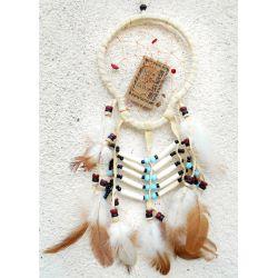 Dreamcatcher forme originale beige plumes cuir pierres et os