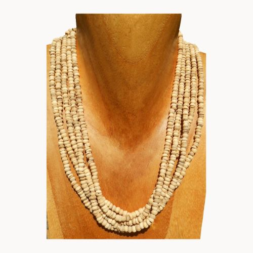 Collier rangs de perles en noix de coco naturelle