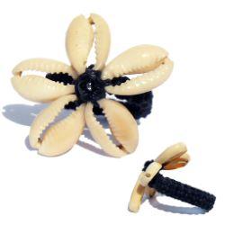 Bague en macramé et en coquillage Cauris Fleur taille 49