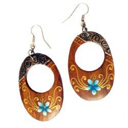 Boucles d'oreilles en bois originales frangipaniers bleus