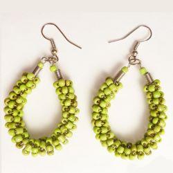 Boucles d'oreille fantaisie Torsade en perles de rocaille Vert anis