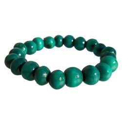Bracelet perles en bois sur élastique un rang vert