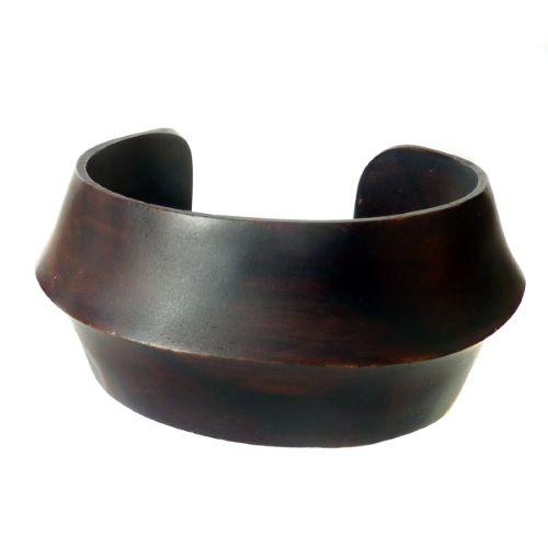 Bracelet en bois foncé plein sculpté en une seule pièce de bois