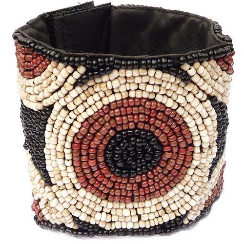 Bracelet Manchette Large Cercles Noir Beige Marron en perles de rocaille
