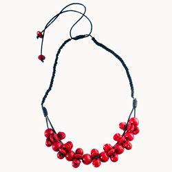 Collier Rouge original Mi-long Composé de Perles en Bois Artisanat de Bali