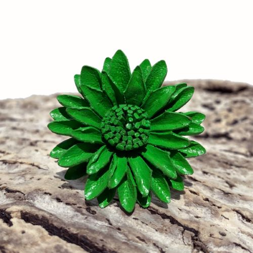 Grosse Bague Marguerite Fleur en cuir Verte