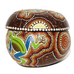 Noix de Coco Boite décor peint à la main Motif Grenouille