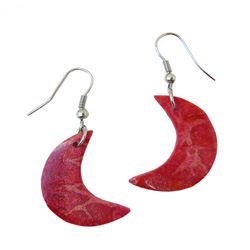 Boucles d'oreilles Originales Pendants en Corail Rouge forme Lunes
