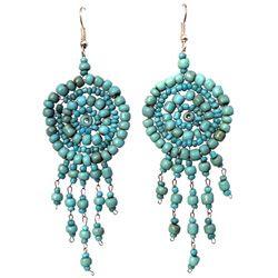 Boucles d'oreilles en perles de rocailles Cercles et breloques Bleues