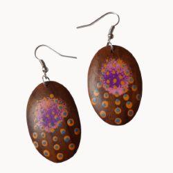 Boucles d'oreilles en bois originales ovales décor peint