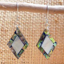 Boucles d'oreilles avec nacre blanche et nacre abalone - Losanges