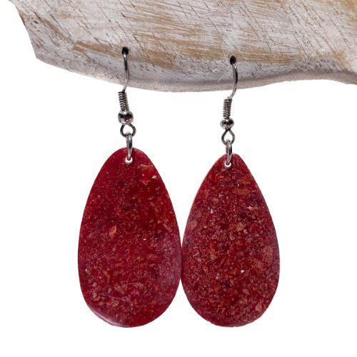 Boucles d'oreilles Originales Pendants en résine et Corail Rouge forme Lunes