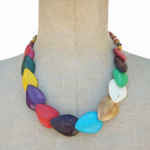 Collier original Multicolore en Os et bois Artisanat Indonésien