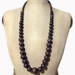 Collier en Bois Long Sautoir perles rondes en bois foncé naturel