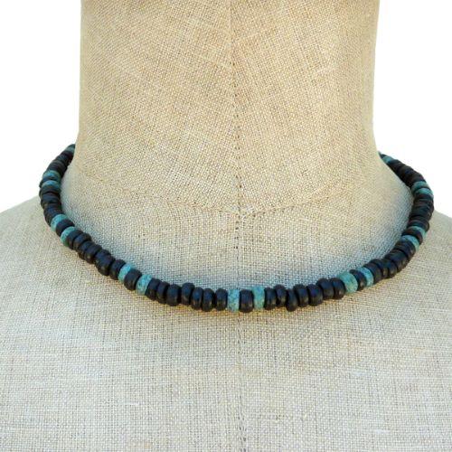 Collier Surf Perles en noix de coco bleu et noir Look Vintage