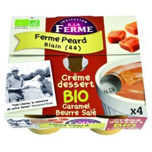 CRÈME DESSERT CARAMEL <BR>AU BEURRE SALE. 4  pots de 100 g