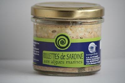 RILLETTES DE SARDINES AUX ALGUES MARINES.<BR> Pot de 100 g.