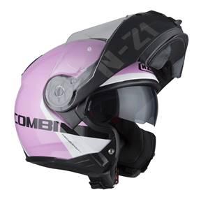 NZI - Casque Moto, Scooter Modulable - COMBI2 DUO GRAPH - Rose Mat/Brillant
