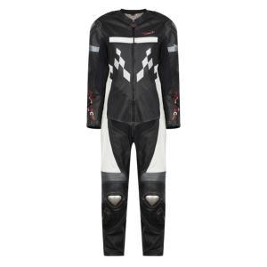 Combinaison de Moto Homme Road Suite Rider-Tec Cuir Noir & Blanc