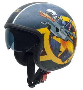 NZI - Casque Moto, Scooter Jet - ROLLING3 SUN GRAPHICS - Multicolore Mat