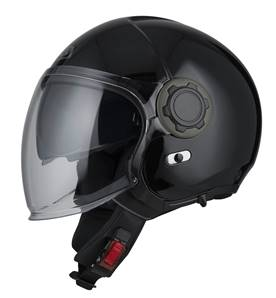 NZI - Casque Moto, Scooter Jet - RINGWAY DUO - Noir Brillant