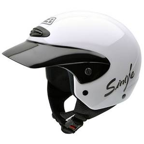NZI - Casque Moto, Scooter Demi-Jet - SINGLE JR - Blanc brillant