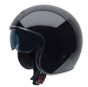 NZI - Casque Moto, Scooter Jet - ROLLING3 SUN - Noir Brillant