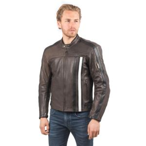 Blouson de Moto Homme Rétro Rider-Tec Cuir Marron & Blanc