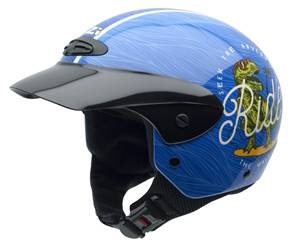 NZI - Casque Moto, Scooter Demi-Jet - SINGLE JR GRAPHIC - Bleu brillant