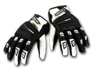 Gants de Moto Unisexe Race II Rider-Tec Cuir Noir & Blanc