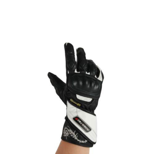 Gants de Moto Femme Speedy Lady Rider-Tec Cuir Coqué Noir & Blanc