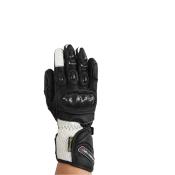 Gants de Moto Unisexe Hyper Sport Rider-Tec Cuir Coqué Noir & Blanc
