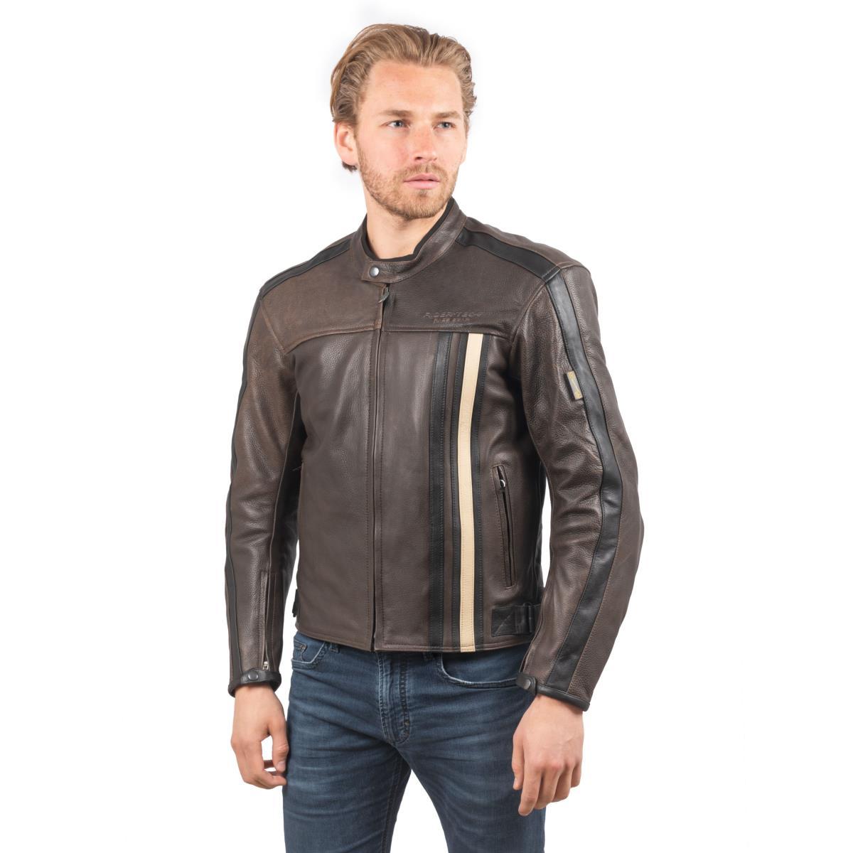 Blouson de Moto Homme Rétro Rider-Tec Cuir Marron & Beige