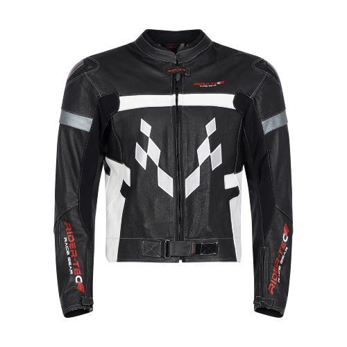 Blouson de Moto Homme Road Jacket Rider-Tec Cuir Noir & Blanc