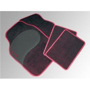 Tapis sol Diamant noir/rouge 4 pcs