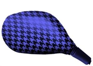Housse rétroviseur scooter pied de poule bleu ovale