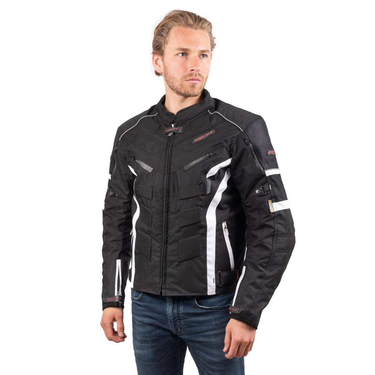 Blouson de Moto Homme Urban Rider-Tec Textile Noir & Blanc