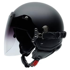 NZI - Casque Moto, Scooter Demi-Jet - TONUP VISOR - Noir mat