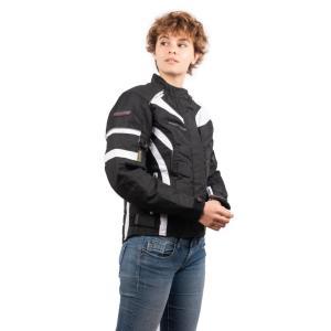 Blouson de Moto Femme Urban Lady Rider-Tec Textile Noir & Blanc