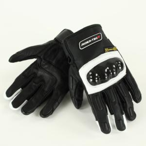 Gants de Moto Unisexe Race Rider-Tec Cuir Coqué Noir & Blanc