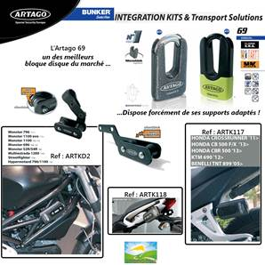 Support d'antivol adapté Artago 69 pour Honda CB1000R et CBR600RR