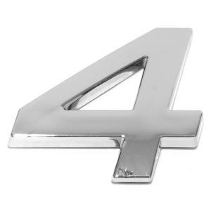 Chiffre ''4'' 3D autocollant chromé